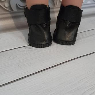 Черные кожаные ботинки для кукол Беби Борн и старшей сестрички.