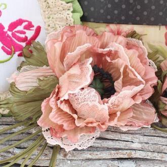 Цветы из ткани «Винтажный Мак»