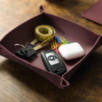 Кожаный лоток для мелочей, кожа Grand, цвет бордо