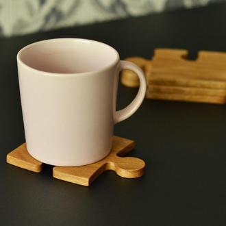 """Набор подставок под чашки (костеры) """"Пазл"""" деревянные дуб"""