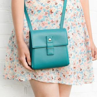 """Бирюзовая сумочка через плечо """"Ponika"""". Маленькая сумка для телефона"""