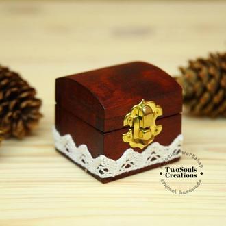 Деревянная коробочка для обручального кольца, свадебная шкатулка, деревянная шкатулка для кольца.