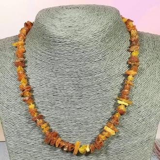Бусы из Янтаря крошка, янтарные бусы, натуральный камень, бронза, тм Satori \ Sk - 0006