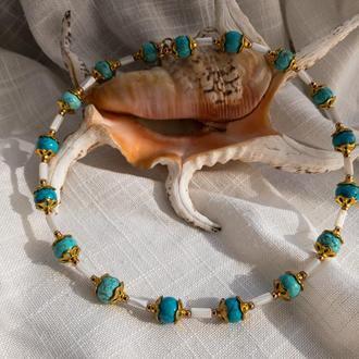 Чокер «Морской» из натуральных камней