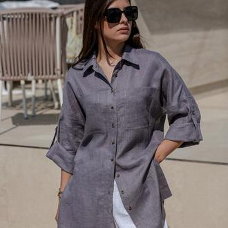 Льняная рубашка серого цвета. Женская рубашка