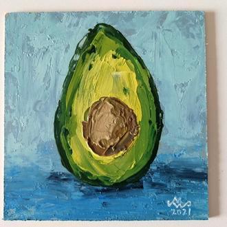 """Картина """"Авокадо"""" , масло 15х15 см"""