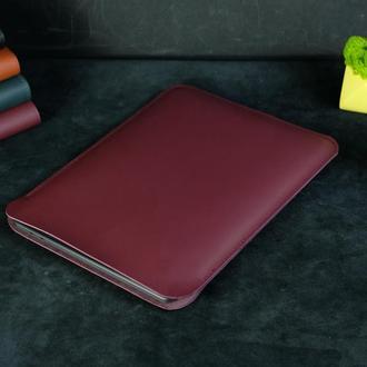 Кожаный чехол для macbook, дизайн №1 кожа grand, цвет бордо