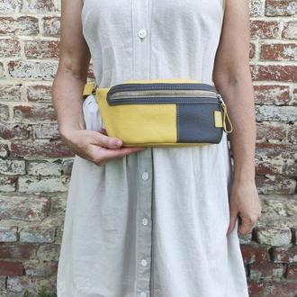 Кожаная бананка . Жёлтая поясная сумка . Жіноча поясна сумка