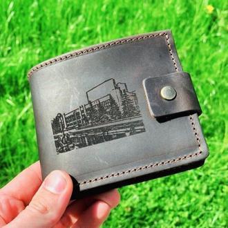Именной кожаный кошелек короткий Classic (для мужчин и женщин)