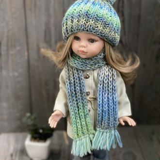 Вязаный комплект шапка и длинный шарф для куклы Паола Рейна, Одежда Paola Reina