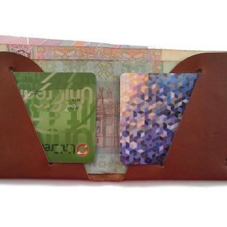 Мужской кошелек портмоне из натуральной кожи коричневый тонкий ручная работа.