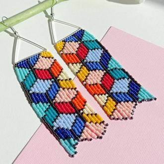 Геометрические серьги   Серьги из бисера   Серьги кубы