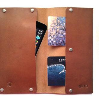 Чехол для iPhone кошелек из натуральной кожи коричневый тонкий ручная работа.