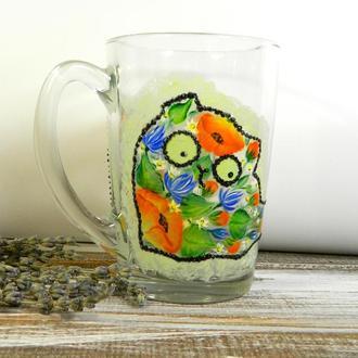 Чашка скляна з розписом