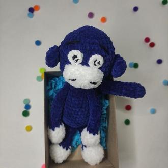 Плюшевая синяя обезьяна. Подарок ребенку