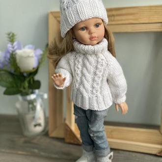 Вязаный комплект свитер и шапка для Паола Рейна, Одежда для кукол Paola Reina