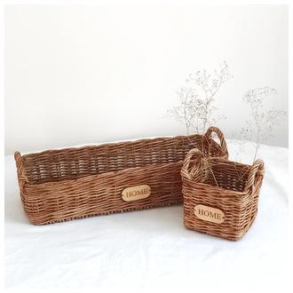 Набор плетёных корзин для хранения