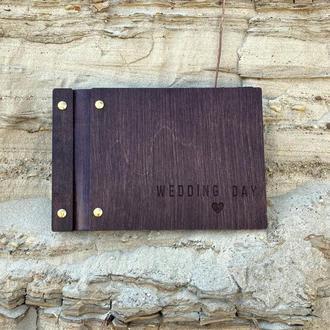 Свадебная книга пожеланий с вашей надписью кожаной вставкой на винтах FILWOOD