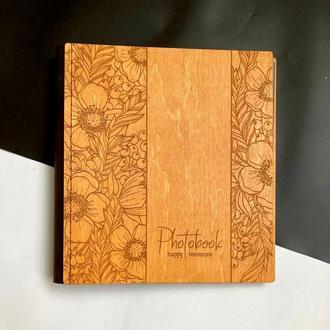 Фотоальбом із дерева | Подарунок ручної роботи | Сімейний альбом | Натуральна шкіра | FILWOOD