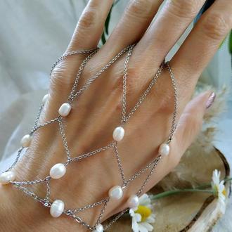 Слейв-браслет с белым жемчугом ′Жемчужный плен′