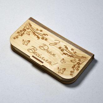 Свадебный конверт для денег (укр). Деревянная коробка для купюр на свадьбу, помолвку или годовщину.