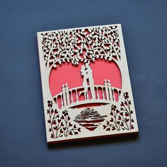 """Свадебная открытка """"Мост влюбленных"""". Деревянная открытка на свадьбу, помолвку, годовщину"""