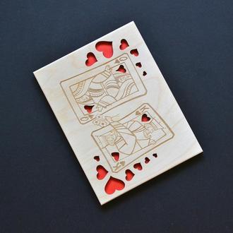 """Деревянная открытка """"Дама и Король"""". Оригинальный подарок любимой девушке, парню, жене, мужу"""