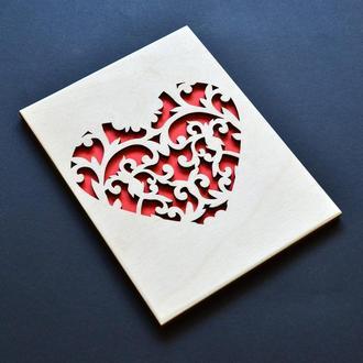 """Деревянная открытка """"Сердце"""". Креативная открытка для любимой, любимого, парня, девушки, жены, мужа"""