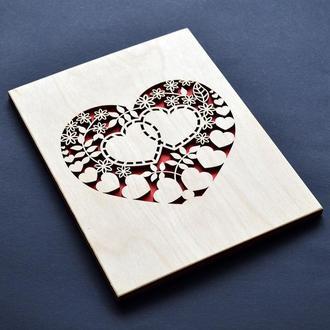 Деревянная резная открытка. Креативный подарок для любимой (любимого), для девушки, парня