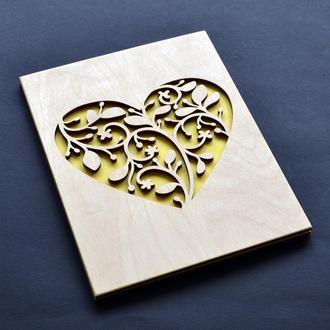 """Деревянная открытка """"Травинки"""". Креативный подарок для любимой (любимого), для девушки, парня, жены"""