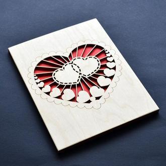 """Деревянная открытка """"Сияние"""" для любимой (любимого), для девушки, парня, жены, мужа, брата, сестры"""