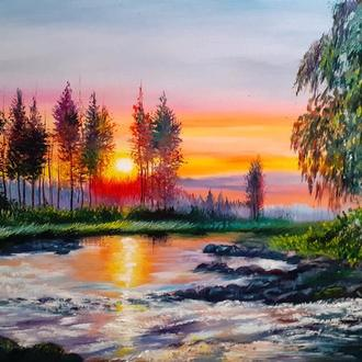 "Картина маслом "" Летний закат""."