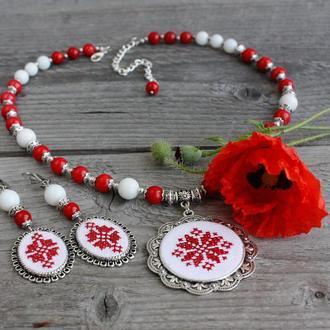 Комплект свадебных украшений из коралла Украинские свадебные украшения в стиле этно