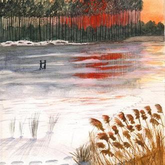 "Акварельная картина ""Пара на обледеневшем озере"