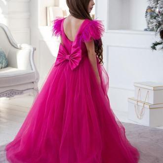 Детское платье Микки атлас фуксия