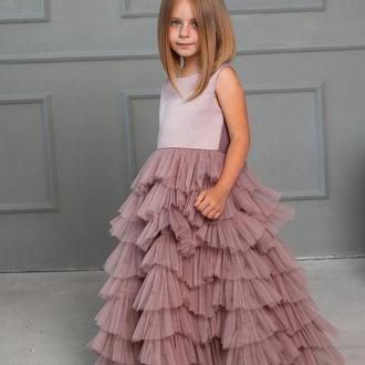 Платье Принцессы с оборками Мэрилин пыльная роза