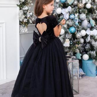Платье на выпускной Микки бархат рукавчик черное