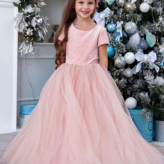 Платье на свадьбу для девочки Микки бархат закрытое рукавчик