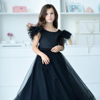 Вечернее платье для девочки, Микки, атлас, бисер