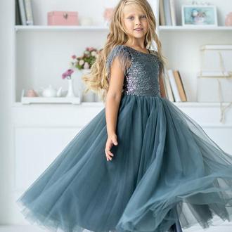 Платье принцессы Микки пайетка перья графит