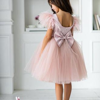 Детское платье Микки атлас (короткое) пудра