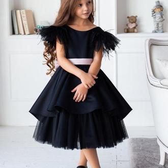 Выпускное платье для девочки Миа атлас черное 140