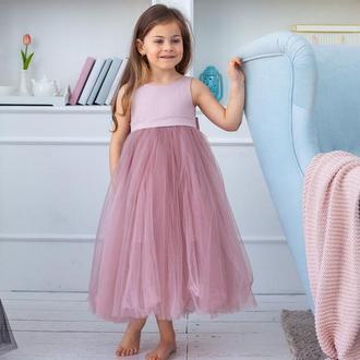 Детское платье Мария атлас пудра