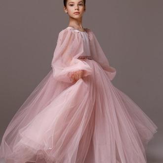 Выпускное платье для девочки Микки атлас рукав бисер 146