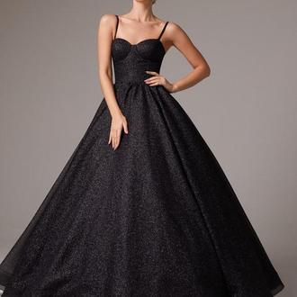 Черное пышное платье La Novale 116