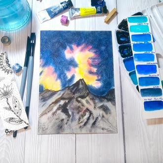 """Акварельная картина """"Звездное небо в горах"""""""