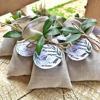 Бонбоньерки с чаем, подарки гостям на свадьбе, комплімент гостям, чай в мішечках