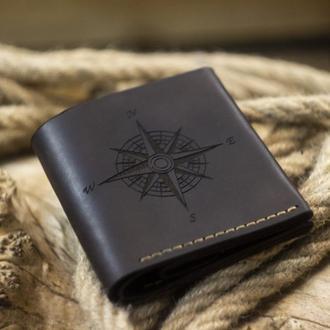 Кожаный мужской кошелек Square - Мужское портмоне из натуральной кожи, подарок мужчине