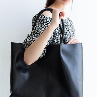 Объемная сумка шоппер Sierra черного цвета из натуральной кожи с легким глянцевым эффектом