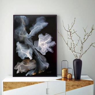 Современная картина абстракция алкогольные чернила декор по черному цветы